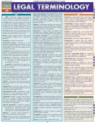 Legal Terminology Laminated Reference Guide By Barcharts, Inc. (COM)